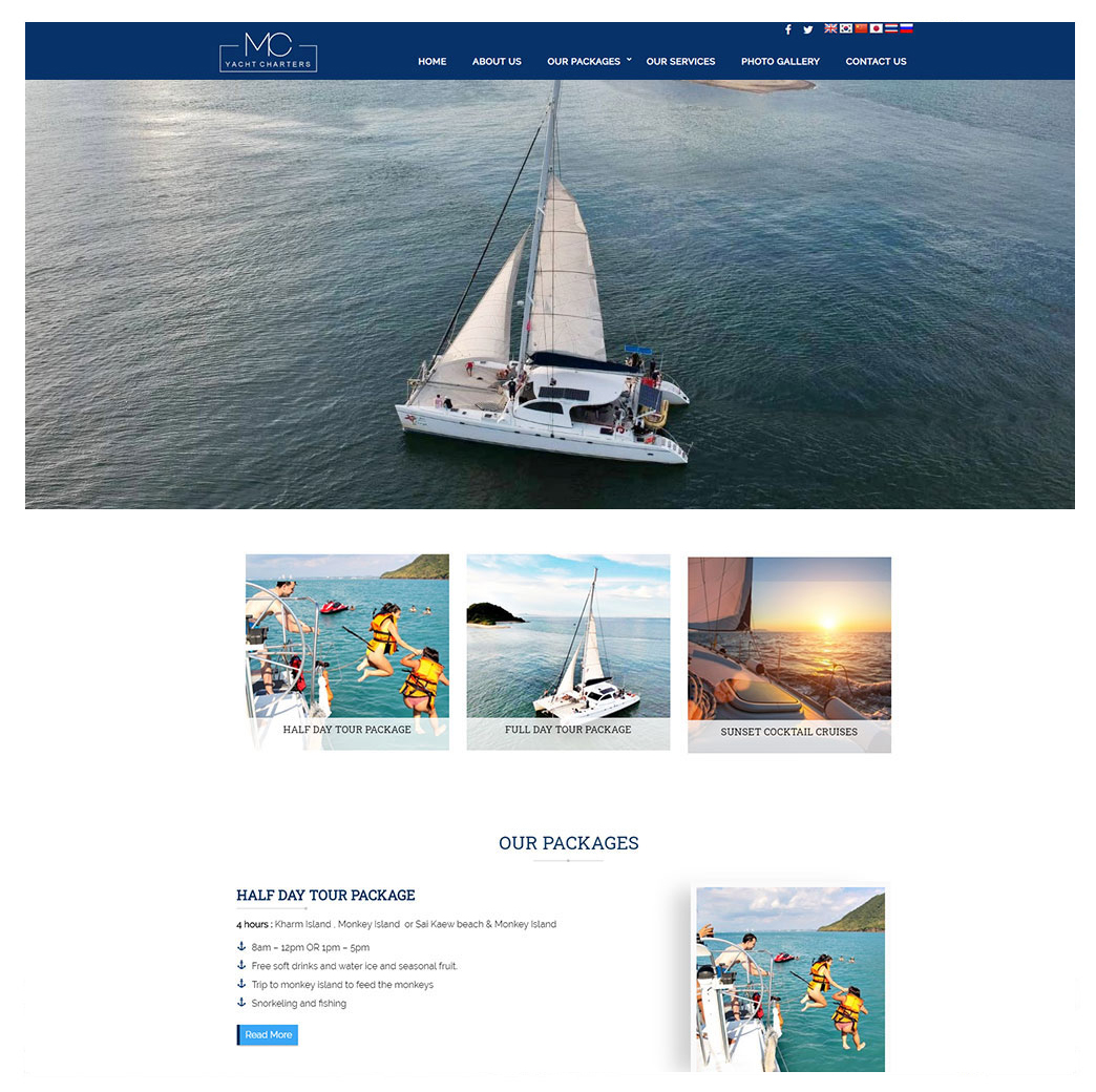 ผลงานเว็บไซต์ MC Pattaya: Yacht Charter Tour Packages at World-Class Ocean Marina