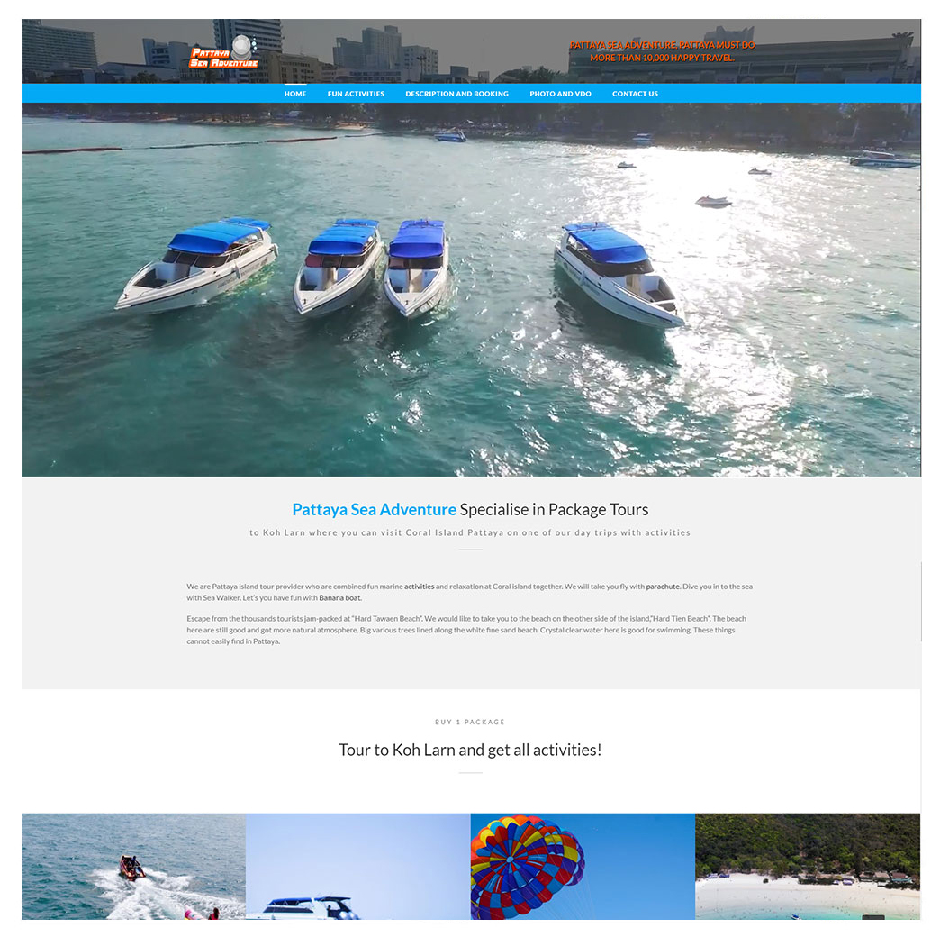 ผลงานเว็บไซต์ Pattaya Sea Adventure: Specialise in Koh Larn Package Tours